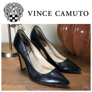 Vince Camuto Black Pointed Leather Heels